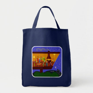 Retro House Party Grocery Tote Bag