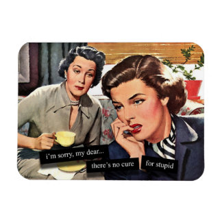 "Retro Housewife 1950s ""No Cure for Stupid"" Magnet"