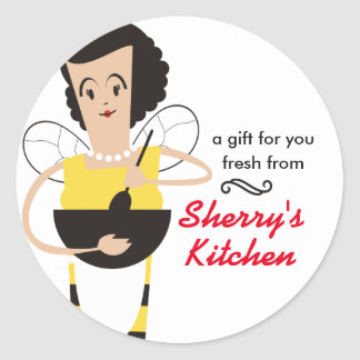 Retro housewife chef bee cooking bakery catering round sticker