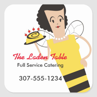 Retro housewife chef bee cooking bakery catering square stickers