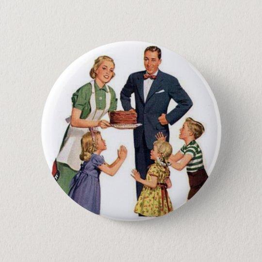 Retro Housewife & Family 6 Cm Round Badge