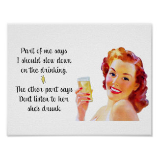 Retro Housewife Funny Quote Drinking Poster