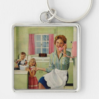 Retro Housewife in Kitchen Silver-Colored Square Key Ring