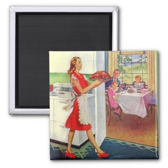 Retro Housewife on Thanksgiving Square Magnet