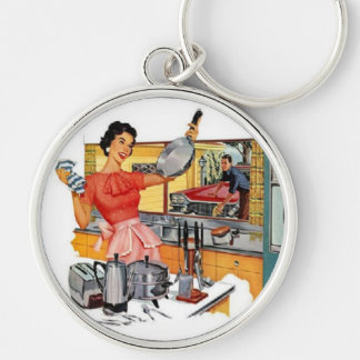 Retro Housewife Silver-Colored Round Key Ring
