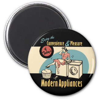 Retro Housewife Washer Dryer 6 Cm Round Magnet