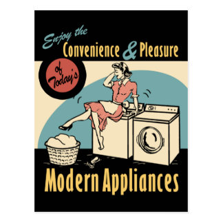 Retro Housewife Washer Dryer Postcard