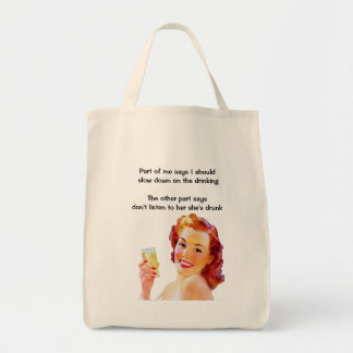 Retro Housewife with Cocktail Funny Drunk Quote Grocery Tote Bag