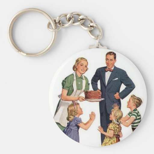 Retro Housewive & Family Keychain