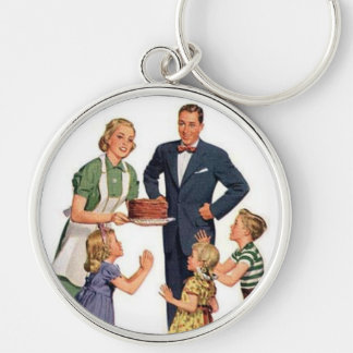 Retro Housewive & Family Silver-Colored Round Key Ring