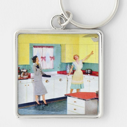 Retro Housewives in Kitchen Key Chains