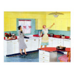 Retro Housewives in Kitchen Post Card