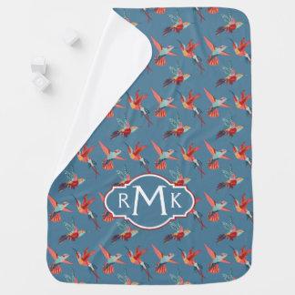 Retro Hummingbird Pattern | Monogram Baby Blanket