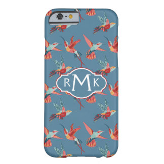 Retro Hummingbird Pattern | Monogram Barely There iPhone 6 Case