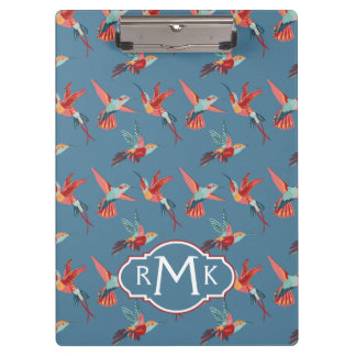 Retro Hummingbird Pattern | Monogram Clipboard