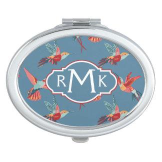 Retro Hummingbird Pattern   Monogram Compact Mirror