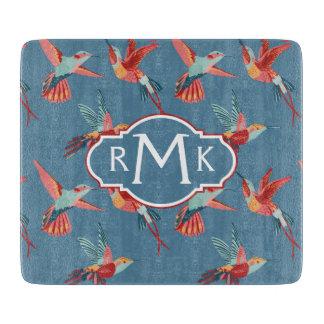 Retro Hummingbird Pattern | Monogram Cutting Board