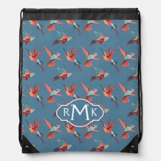 Retro Hummingbird Pattern | Monogram Drawstring Bag