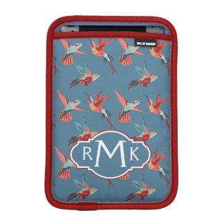 Retro Hummingbird Pattern | Monogram iPad Mini Sleeve