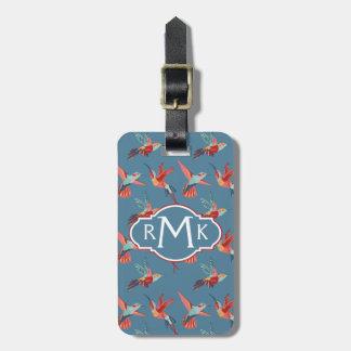 Retro Hummingbird Pattern | Monogram Luggage Tag