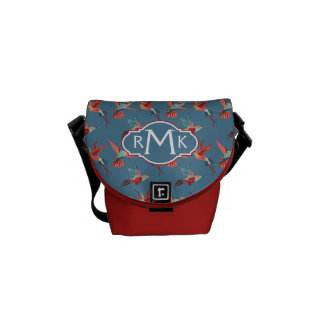 Retro Hummingbird Pattern | Monogram Messenger Bags