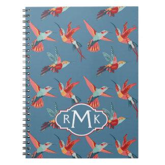 Retro Hummingbird Pattern | Monogram Notebook
