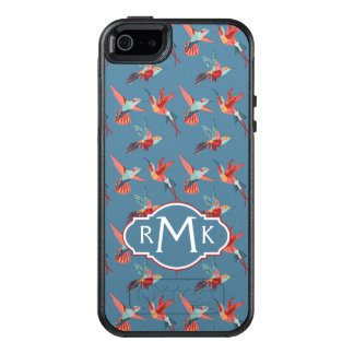 Retro Hummingbird Pattern | Monogram OtterBox iPhone 5/5s/SE Case