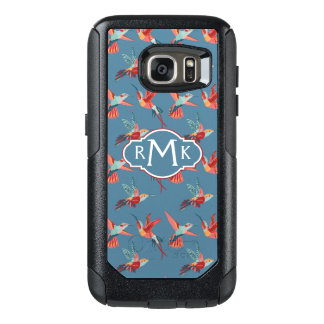 Retro Hummingbird Pattern | Monogram OtterBox Samsung Galaxy S7 Case