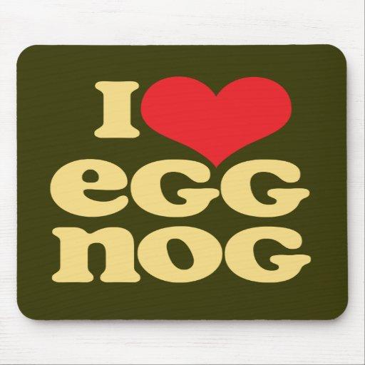 Retro I Love Eggnog Mousepad Green