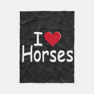 Retro I love Horses Fleece Blanket
