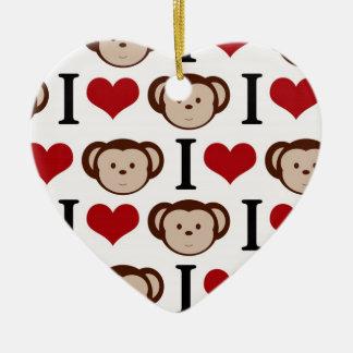Retro I Love Monkeys Ceramic Heart Decoration