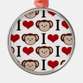Retro I Love Monkeys Christmas Ornament