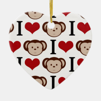 Retro I Love Monkeys Christmas Ornament