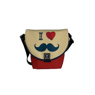 Retro I Love the Mustache Moustache Messenger Bags