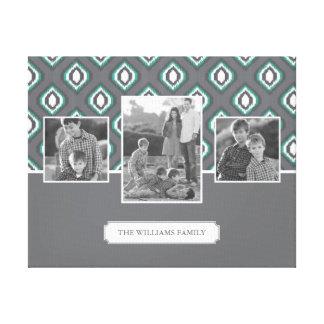 Retro Ikat Tribal Pattern | Family Photos & Text Canvas Print