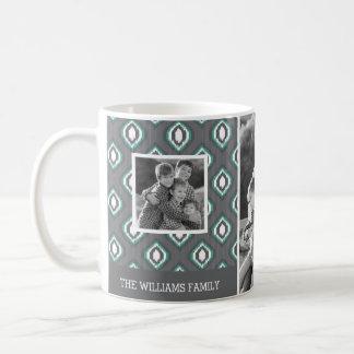 Retro Ikat Tribal Pattern | Family Photos & Text Coffee Mug