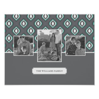 Retro Ikat Tribal Pattern | Family Photos & Text Poster