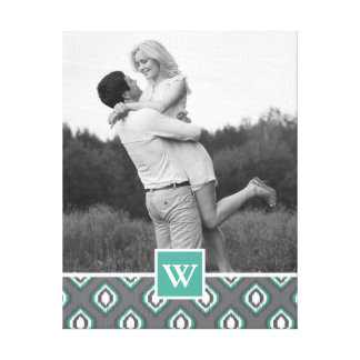 Retro Ikat Tribal Pattern | Photo with Monogram Canvas Print