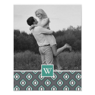 Retro Ikat Tribal Pattern | Photo with Monogram Poster