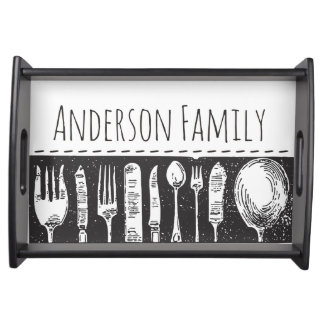Retro Illustrated Cutlery Serving Tray