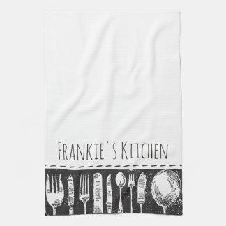 Retro Illustrated Cutlery Tea Towel
