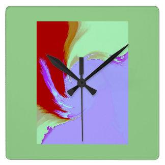 Retro Image 7 Lilac & Green Square Wall Clock