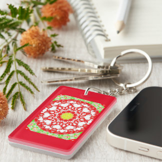 Retro Image 8 Red & Green Acrylic Keychain