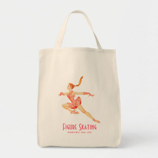 Retro Image of A Figure Skater In A Pink Outfit Grocery Tote Bag