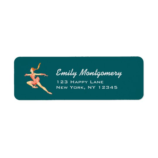 Retro Image of A Figure Skater In A Pink Outfit Return Address Label