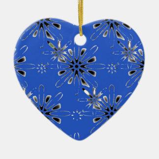 Retro in Blue Ceramic Heart Decoration
