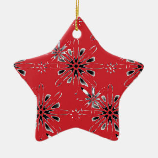Retro in Red Ceramic Star Decoration