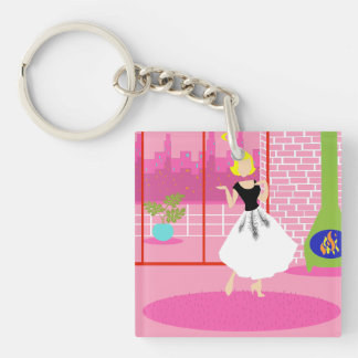 Retro In the Pink Acrylic Keychain