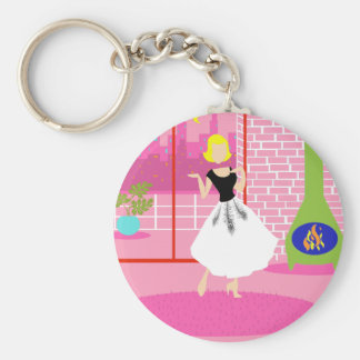 Retro In the Pink Button Keychain