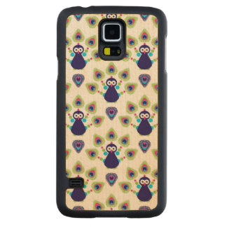 retro india exotic peacock carved maple galaxy s5 case